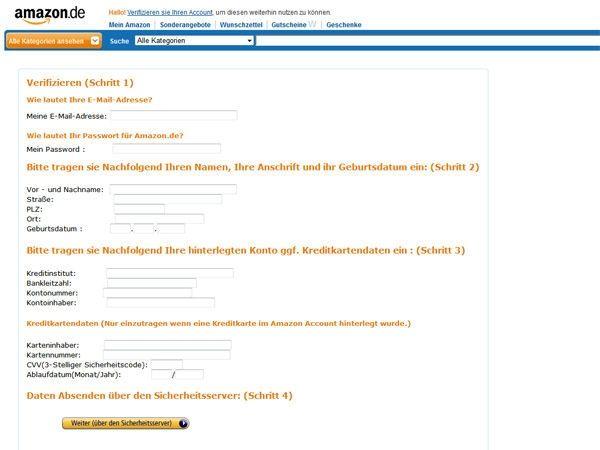 Gefälschte Emails von Amazon